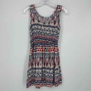 Forever 21 Dress S/P Red/Cream/Blue Pattern
